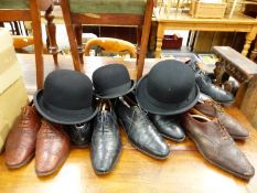THREE BOWLER HATS, MOSS BROSS SIZE 6 7/8ths, AND TWO LOCK & CO 7 1/2, TOGETHER WITH A QUANTITY OF
