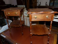 A PAIR OF YEW WOOD BEDSIDE TABLES, EACH WITH SHAPED SQUARE TOP OVER A DRAWER AND AN OPEN SHELF