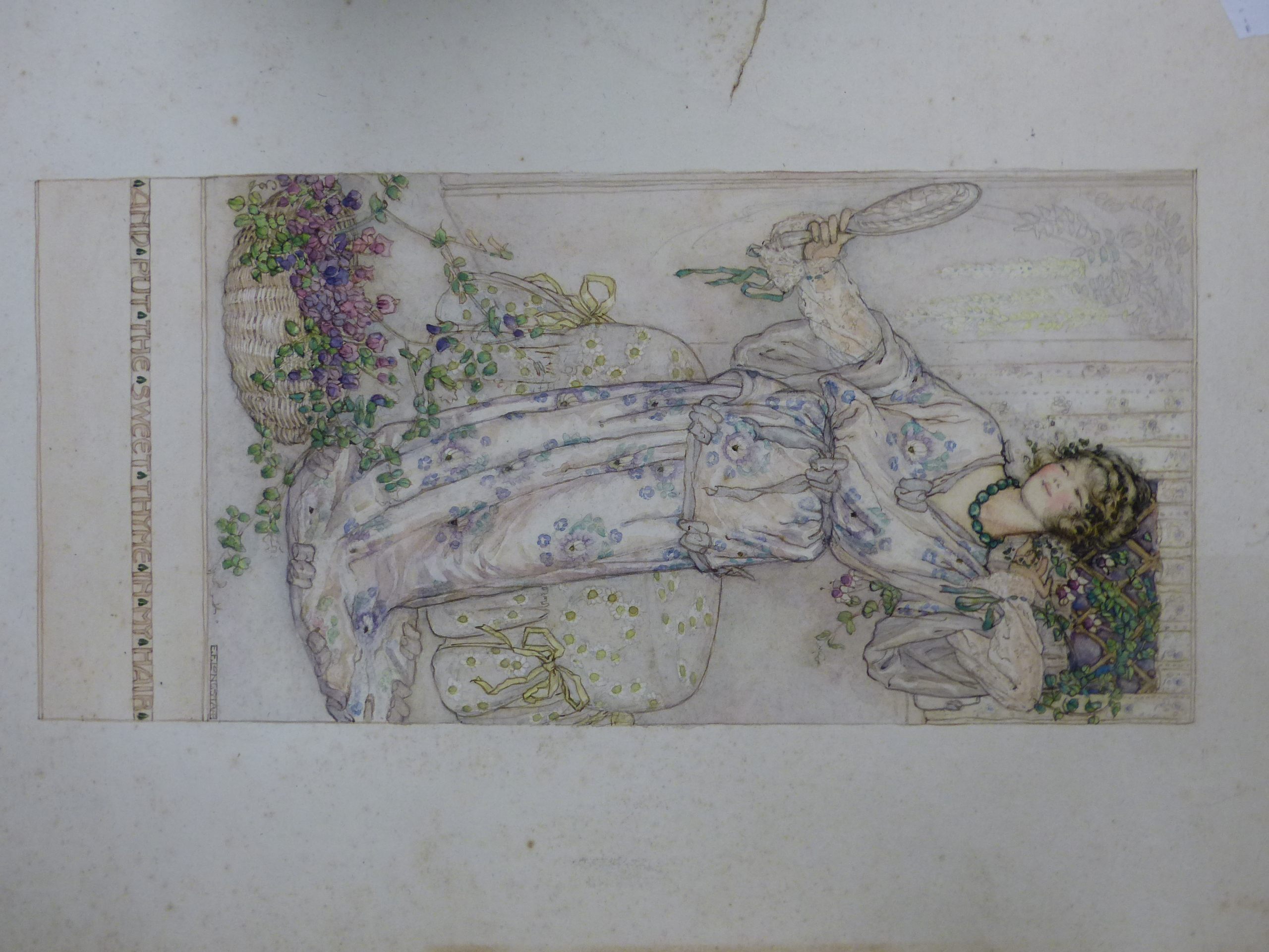 E.F LONGSTAFF (19th / 20th C.) A YOUNG BEAUTY HOLDING A HAND MIRROR. SIGNED WATERCOLOUR , UNFRAMED