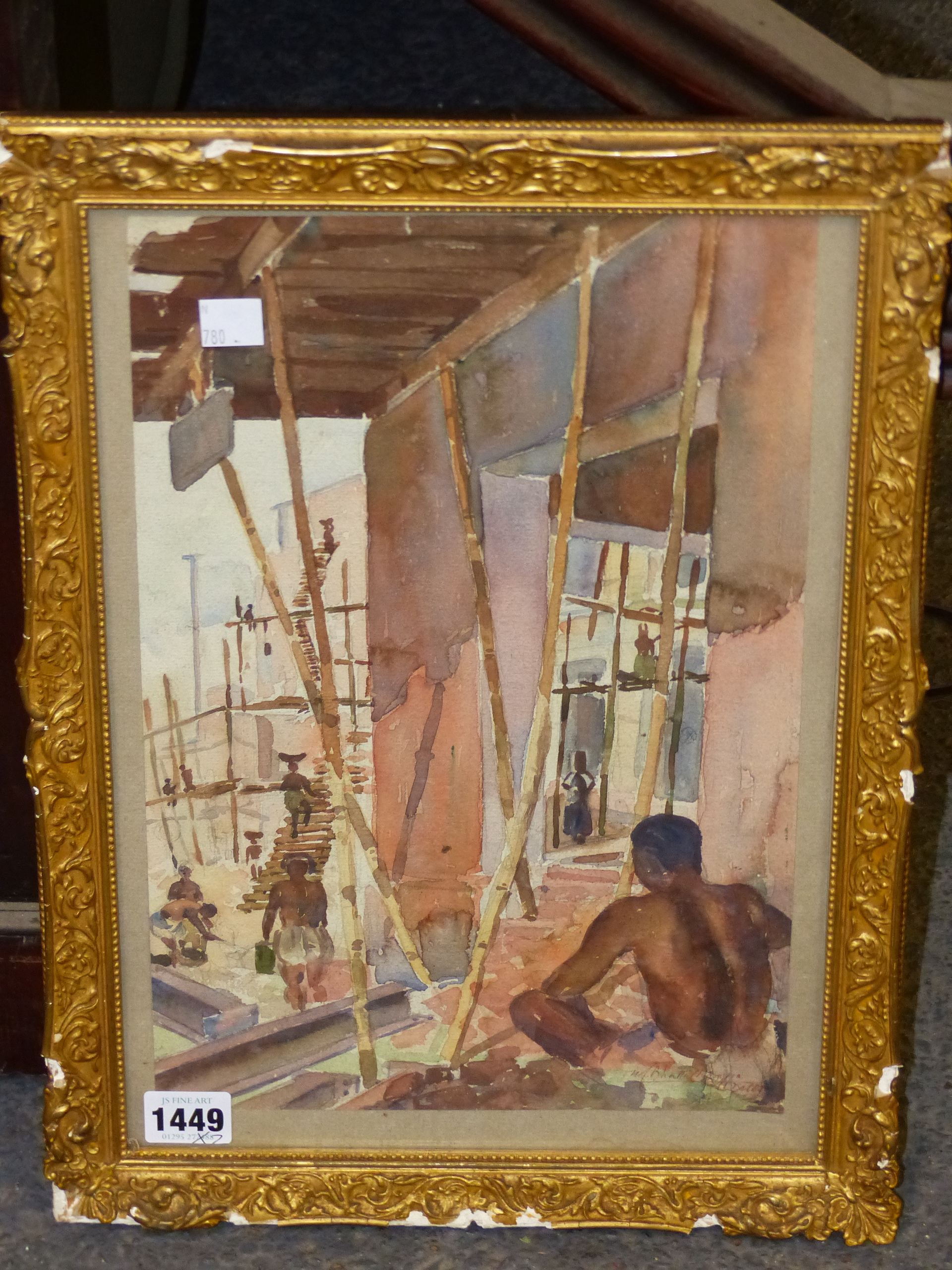 EARLY 20th CENTURY COLONIAL SCHOOL. THE BUILDING SITE, WATERCOLOUR. SIGNED AND INSCRIBED - Image 2 of 6