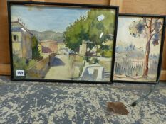 EARLY 20th CENTURY CONTINENTAL SCHOOL, TWO ITALIAN LANDSCAPES, ONE SIGNED INDISTINCTLY