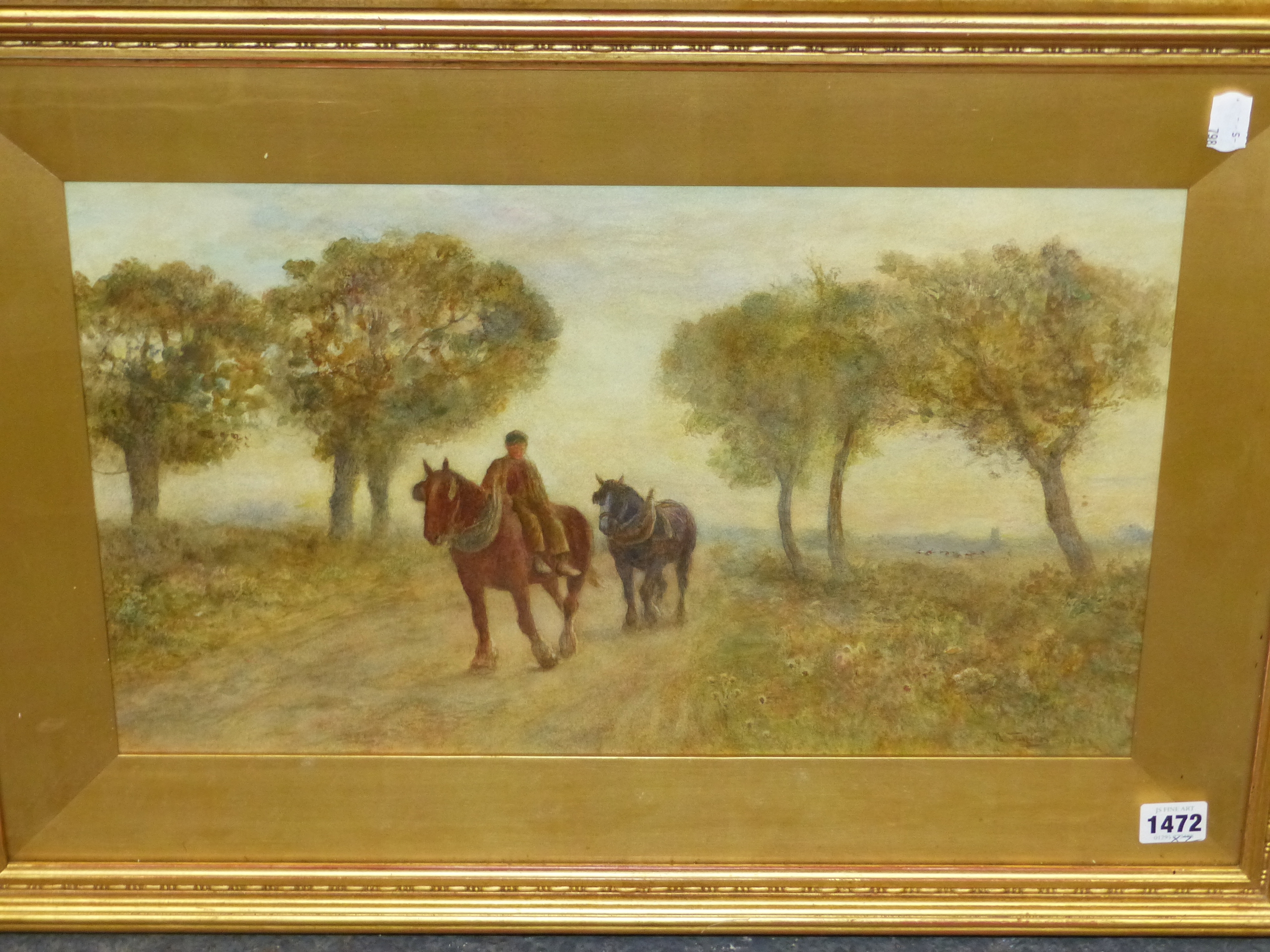 19th/20th C. ENGLISH SCHOOL HOMEWARD BOUND, SIGNED INDISTINCTLY WATERCOLOUR. 28 x 46 cms TOGETHER - Image 2 of 15