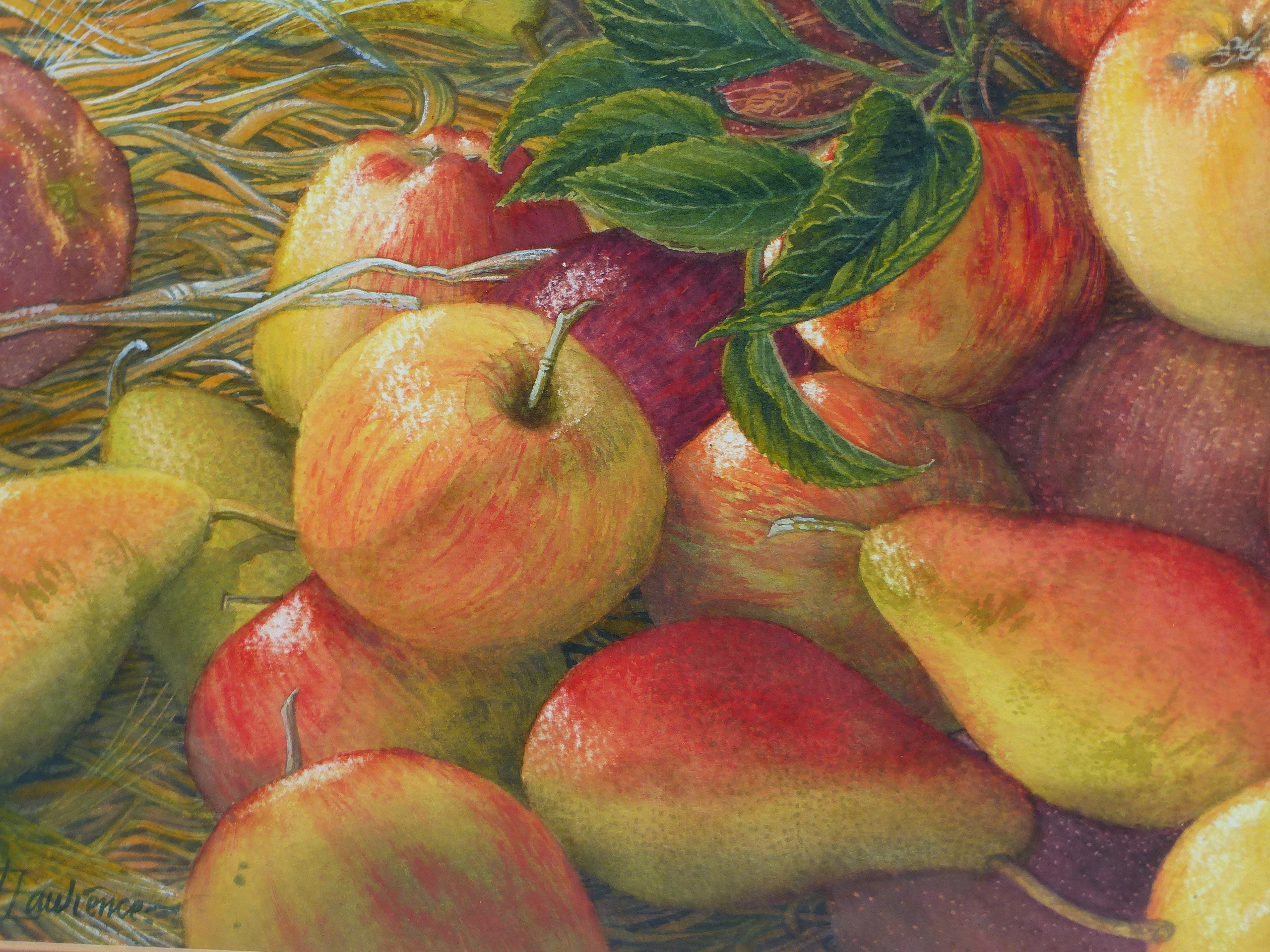 •JOAN LAWRENCE (20th CENTURY SCHOOL). ARR. GALA APPLES AND PACKHAM PEARS, SIGNED WATERCOLOUR, 50 x - Image 4 of 7