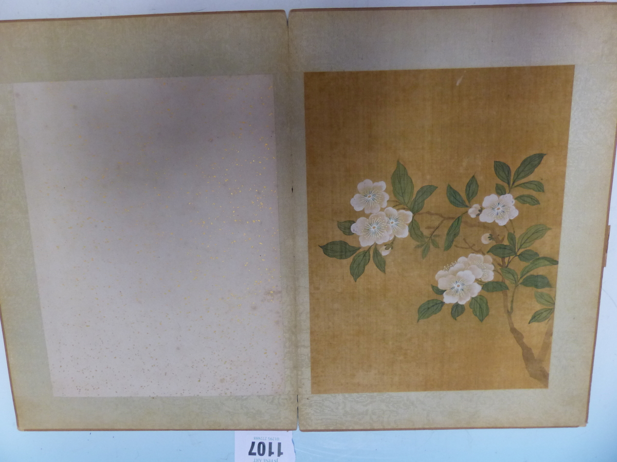 A CHINESE CONCERTINA BOOK OF EIGHT WATERCOLOURS ON SILK PAINTED WITH FLOWERS, BIRDS AND BUTTERFLIES, - Image 7 of 22