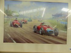 A COLOUR PRINT OF A GRAND PRIX RACE TRACK CIRCUIT AND VARIOUS CARS 39 x 60cm