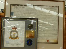 A FRAMED GEORGIAN INDENTURE AND MILITARY APPRECIATION FROM THE STAFF AT UPPER HEYFORD AIR BASE (2)