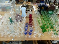 A COLLECTION OF GOOD QUALITY OF ANTIQUE AND LATER GLASS WARES, INC. A SET OF TEN GAME ENGRAVED
