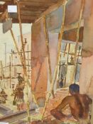 EARLY 20th CENTURY COLONIAL SCHOOL. THE BUILDING SITE, WATERCOLOUR. SIGNED AND INSCRIBED