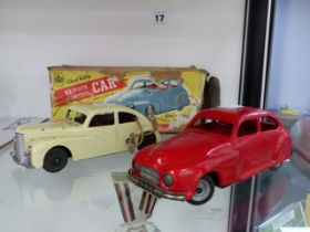 TWO CHAD VALLEY CLOCKWORK CARS, ONE BOXED.