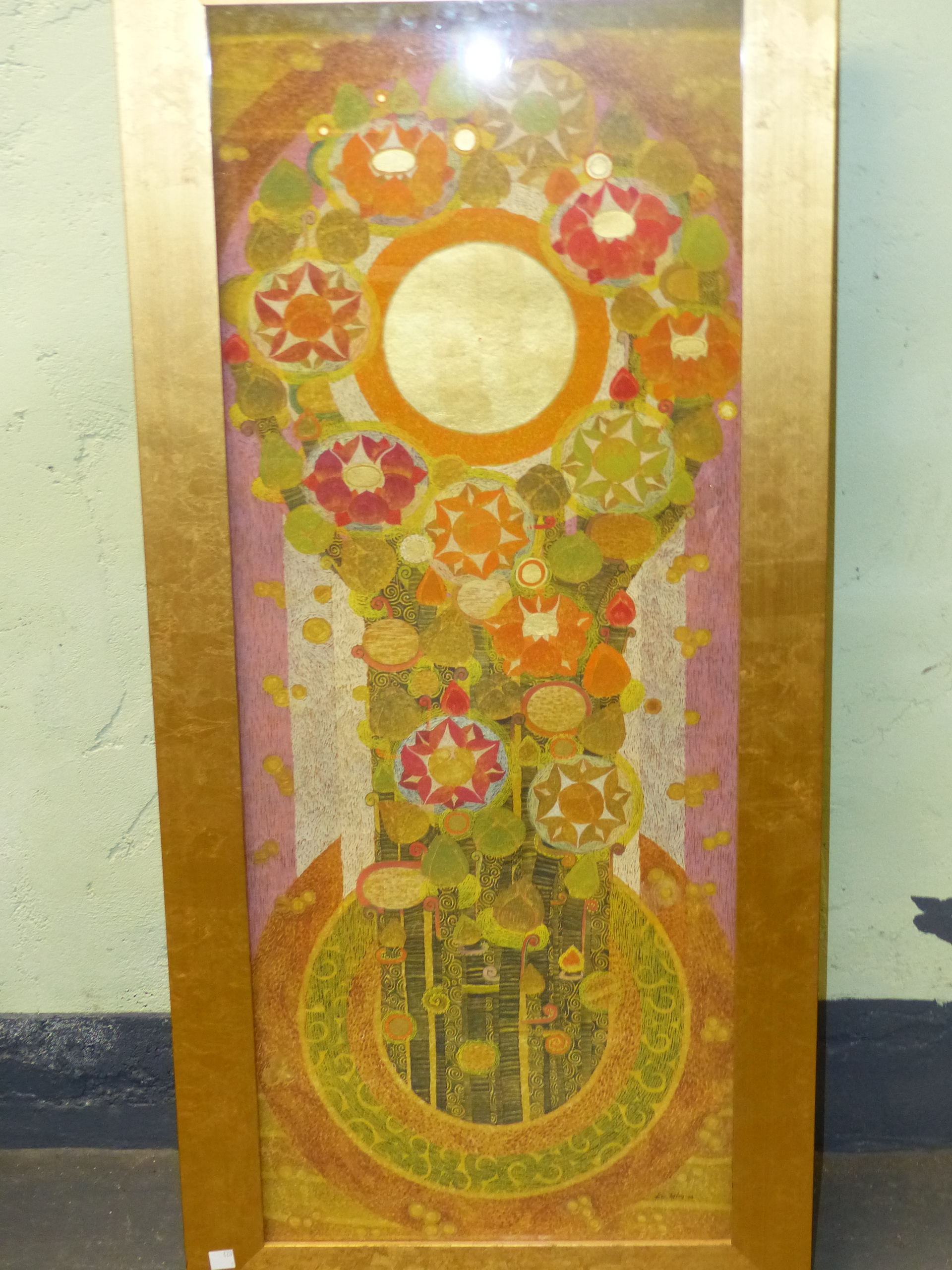 20th CENTURY EASTERN SCHOOL. A GEOMETRIC FLORAL ABSTRACTION WITH GILT HIGHLIGHTS AND WATERCOLOUR, - Image 6 of 8