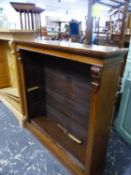 A VICTORIAN MAHOGANY OPEN BOOKCASE WITH THREE ADJUSTABLE SHELVES. W 107 x D 27 x H 109cms.
