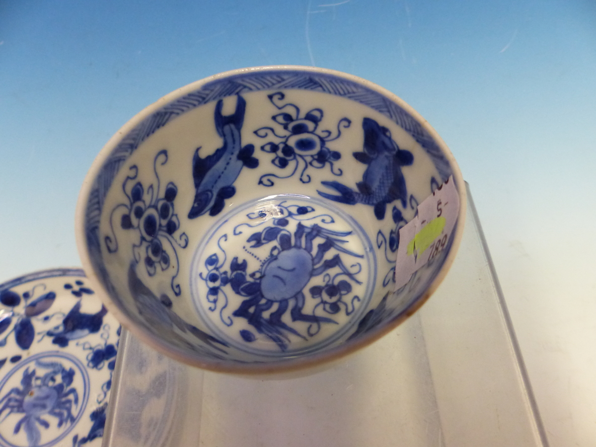 A COLLECTION OF CHINESE BLUE AND WHITE TEA BOWLS AND SAUCERS - Bild 6 aus 13