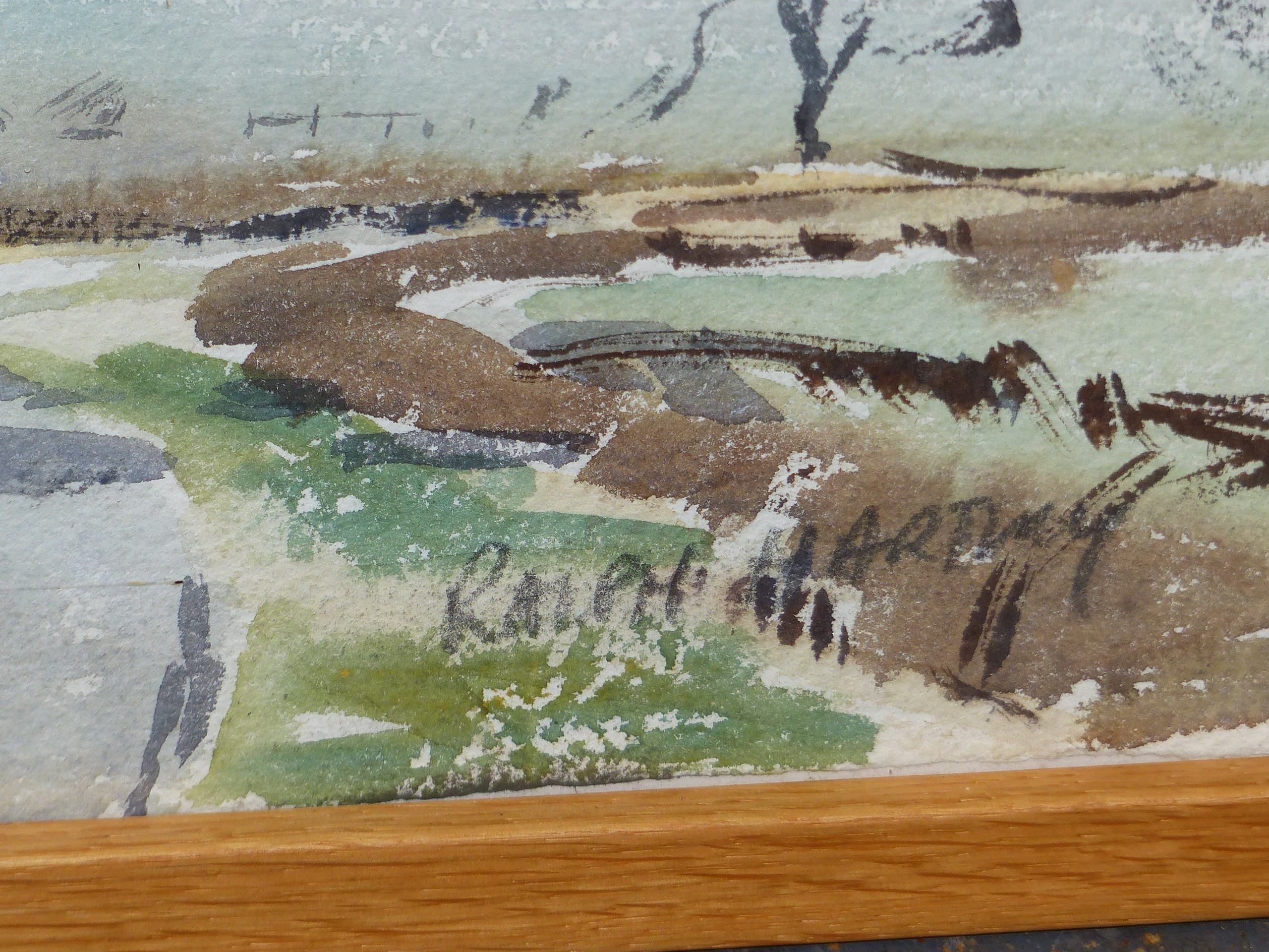•RALPH HARTLEY (1926-1988) ARR. RURAL FARM BUILDINGS SIGNED WATERCOLOUR 55 x 77cm. TOGETHER WITH TWO - Image 6 of 11