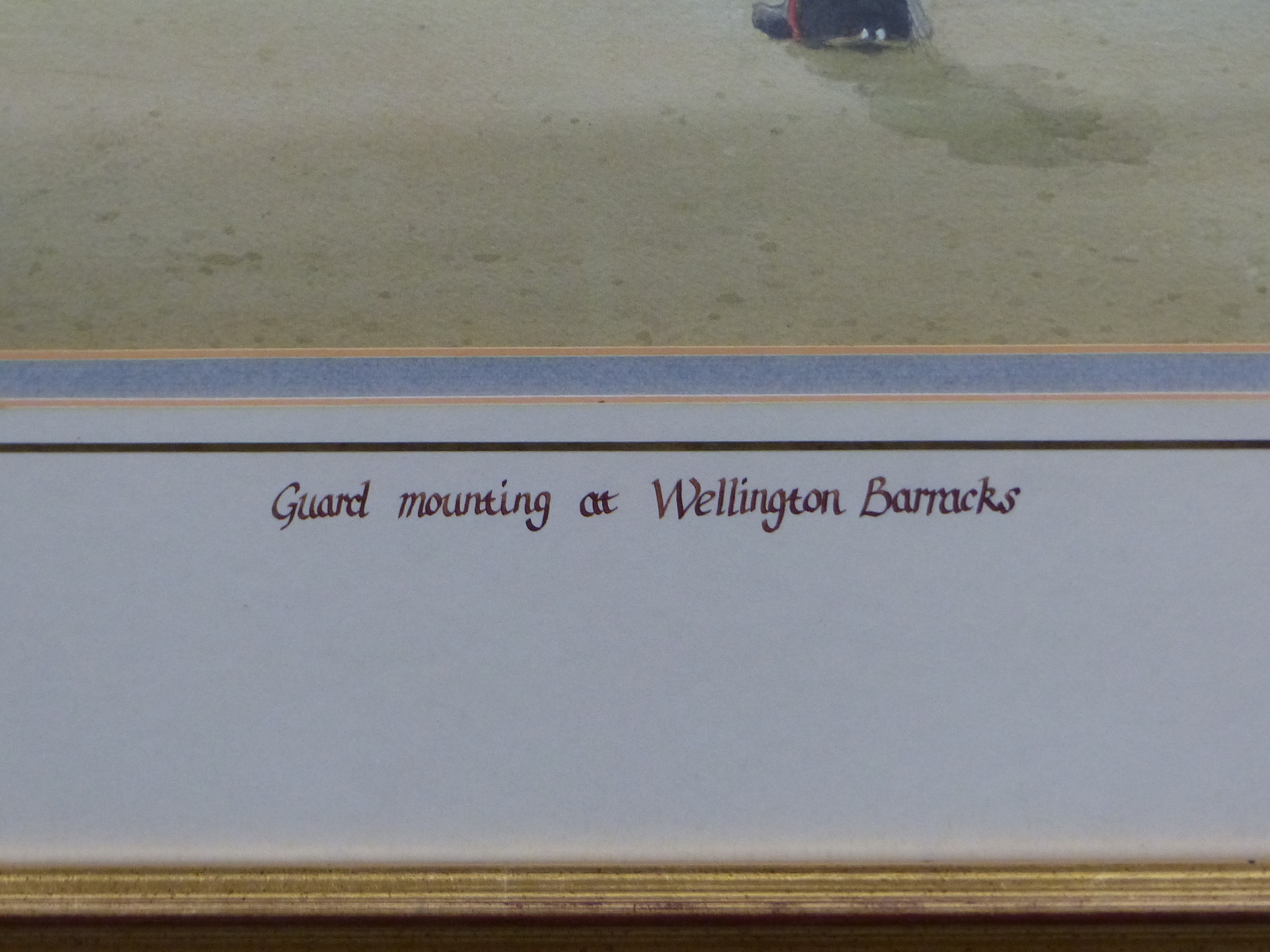 D.J CURTIS (1948 - ) ARR. GUARD MOUNTING AT WELLINGTON BARRACKS. SIGNED WATERCOLOUR GALLERY LABEL - Image 4 of 7