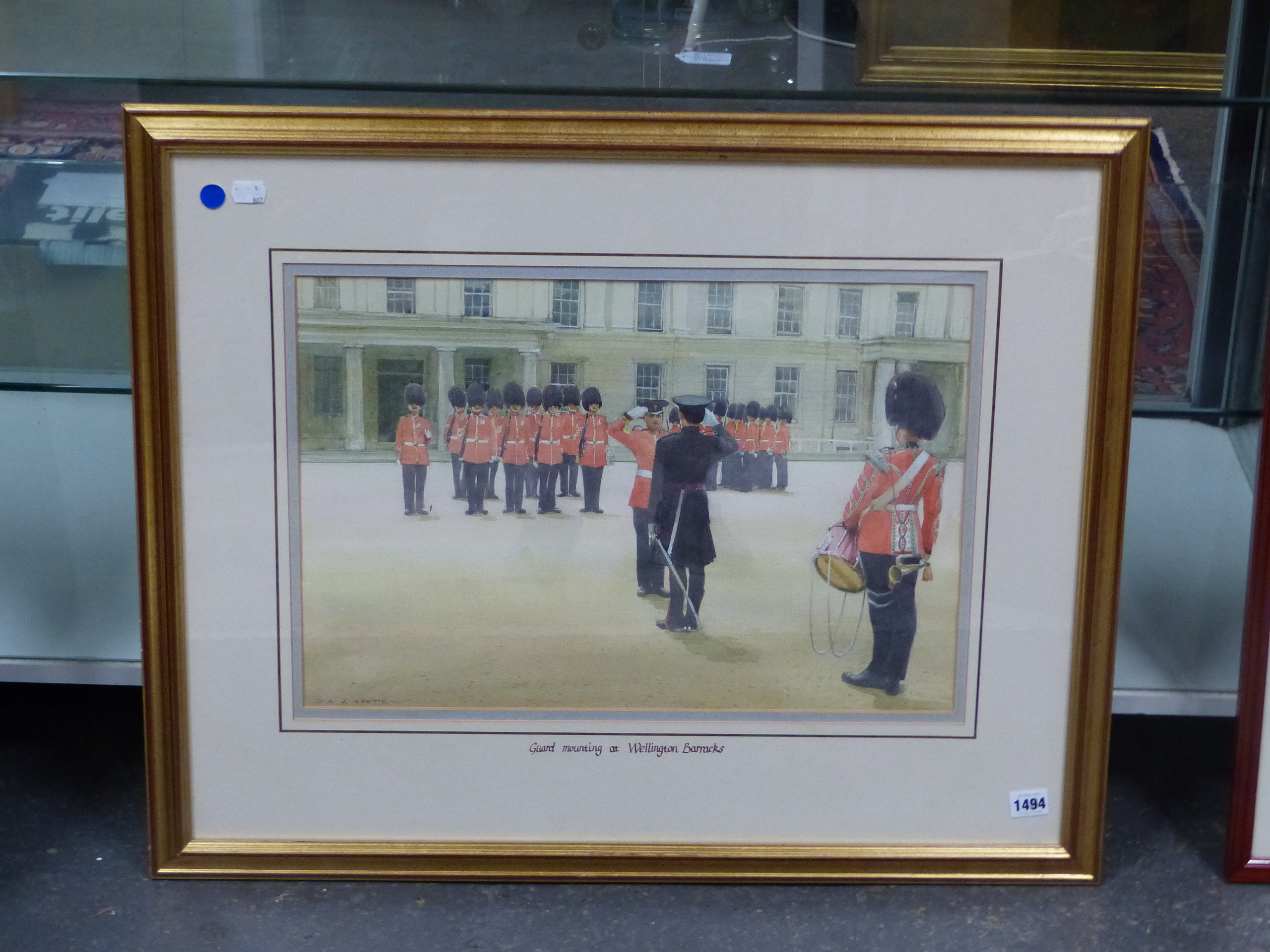 D.J CURTIS (1948 - ) ARR. GUARD MOUNTING AT WELLINGTON BARRACKS. SIGNED WATERCOLOUR GALLERY LABEL - Image 5 of 7