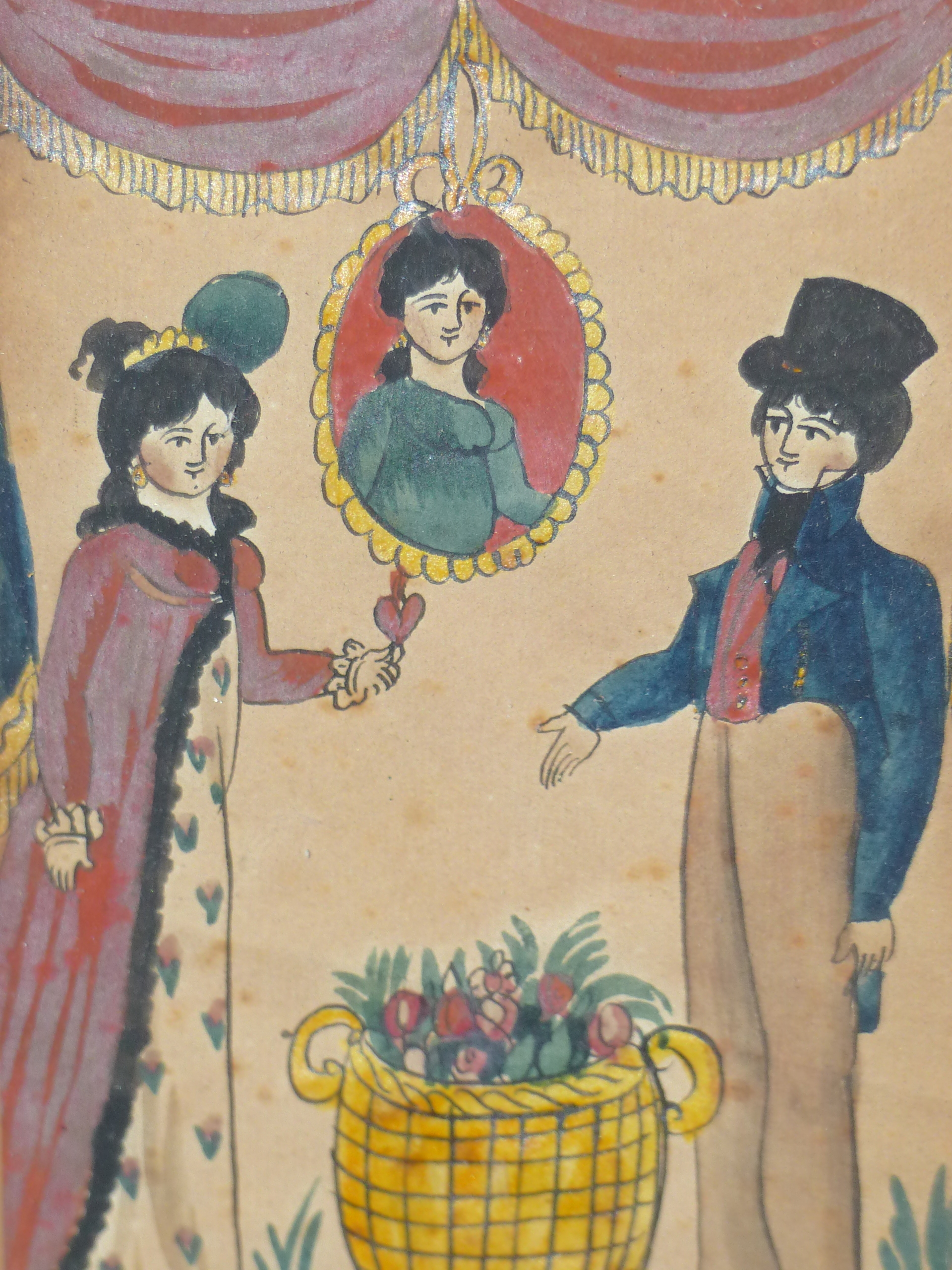 EARLY 19th C. NAIVE SCHOOL. A PAIR OF PORTRAITS OF COURTING COUPLES. WATERCOLOUR 17 x 12cm - Image 2 of 6