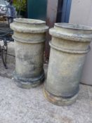 A PAIR OF CHIMNEY POTS.
