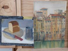 TWO UNFRAMED 20th CENTURY WORKS, A STILL LIFE AND AN ITALIAN TOWN VIEW, LARGEST 48 x 33cm (2)