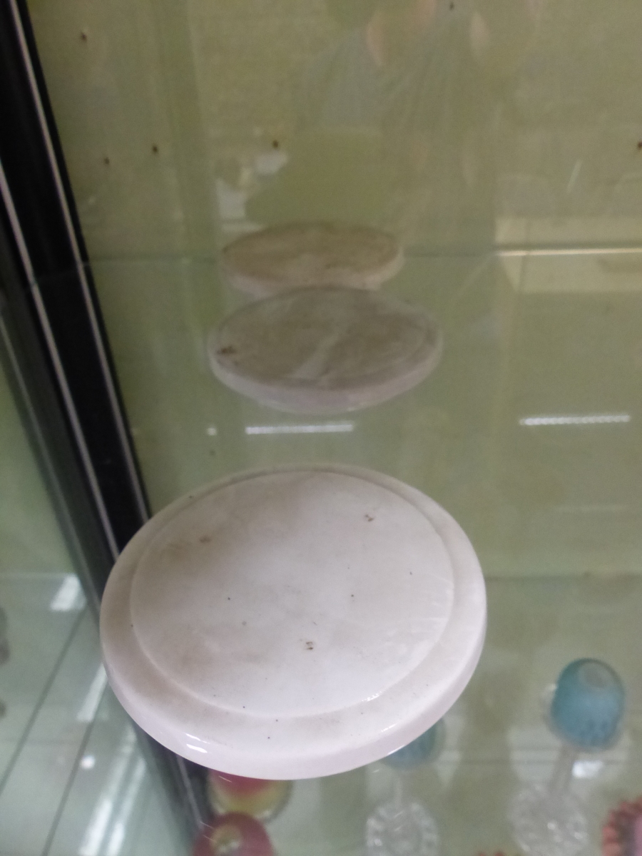 THREE POTTERY SPIRIT BARRELS, EACH WITH BRASS SPIGOTS AND CLARET BANDING ABOUT GILT LABELS, - Image 6 of 7