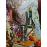 •RONALD OSSORY DUNLOP (1894-1973) ARR. TABLE TOP STILL LIFE, SIGNED. OIL ON BOARD61 x 40cms