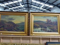 19th/20th C. SCHOOL. A PAIR OF HIGHLAND LANDSCAPES WITH CATTLE BOTH SIGNED INDISTINCTLY, OIL ON