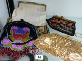 AN INTERESTING VINTAGE BEADWORK EVENING BAG, AN EMBROIDERED EXAMPLE AND THREE OTHERS.
