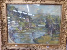 A GILT FRAMED PICTURE OF A RIVERSCAPE AFTER S.J LAMONA BIRCH