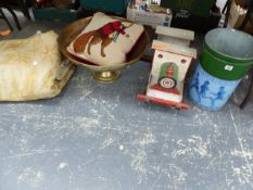 A LARGE BRASS FOOTED BOWL, A SCRATCH BUILT WOODEN TRAIN, A FOX EMBROIDERED CUSHION, A LARGE RUG, AND