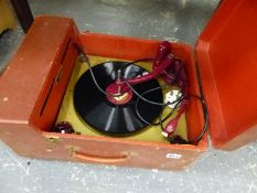 A VINTAGE COLLARO RECORD PLAYER WITH OUTER CARRY CASE.