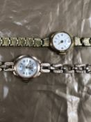 A 9ct GOLD AVIA LADIES WRIST WATCH ON A 9ct GOLD BRACELET STRAP WITH LADDER CLASP, TOGETHER WITH A