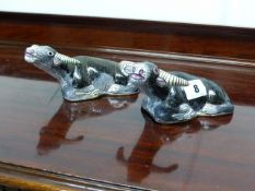 A PAIR OF CHINESE CLOISONNE RECUMBENT WATER BUFFALO.