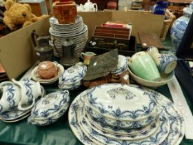 AN EDWARDIAN BLUE AND WHITE PART DINNER SERVICE, A BRASS FIRE MARK, STATIONERY BOX, AND A