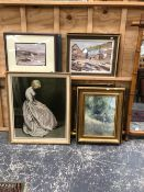 A COLLECTION OF FURNISHING PICTURES TO INCLUDE WATERCOLOURS AND OILS OF VARIOUS SUBJECTS BY