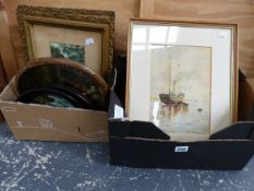 EARLY 20th C. SCHOOL. A PAIR OF SHIPPING SCENES SIGNED INDISTINCTLY 26 x 18cm, TOGETHER WITH OTHER