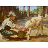 URSELLA (CONTEMPORARY SCHOOL). FEEDING TIME. OIL ON CANVAS, SIGNED. 56 x 72cms.