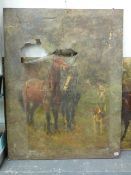 19th/20th C. ENGLISH SCHOOL TWO UNFRAMED SCENES OF HORSES AND HOUNDS, OIL ON CANVAS, UNFRAMED 112