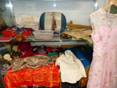 A COLLECTION OF INTERESTING VINTAGE TEXTILES, LACE MAKING BOBBINS, A CUSHION ETC.
