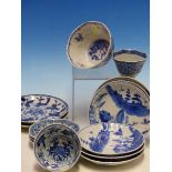 A COLLECTION OF CHINESE BLUE AND WHITE TEA BOWLS AND SAUCERS