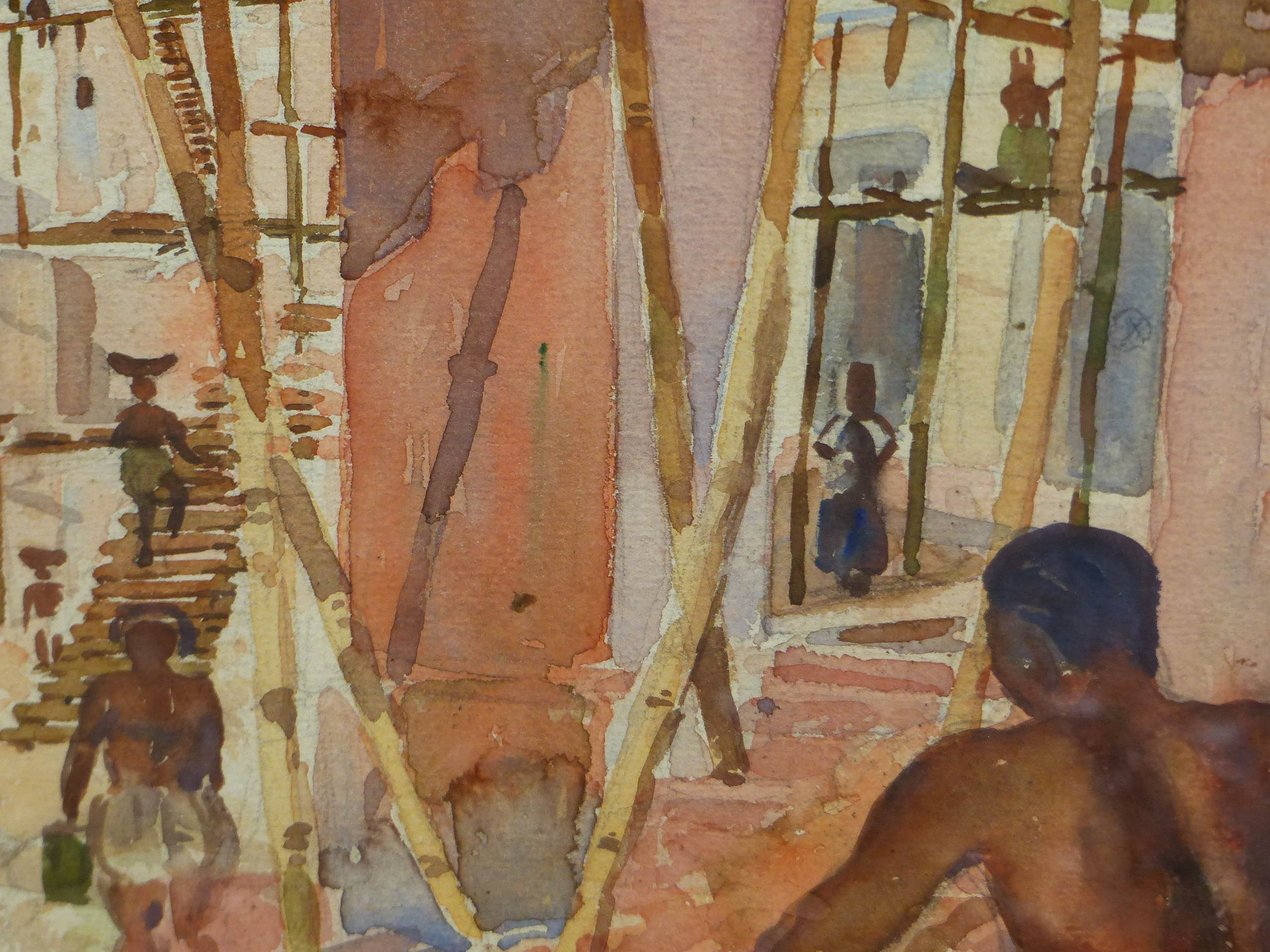 EARLY 20th CENTURY COLONIAL SCHOOL. THE BUILDING SITE, WATERCOLOUR. SIGNED AND INSCRIBED - Image 3 of 6