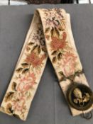 AN ANTIQUE EMBROIDERED BELL PULL, ONE SILVER AND VARIOUS COSTUME BROOCHES, NUT CRACKER ETC.
