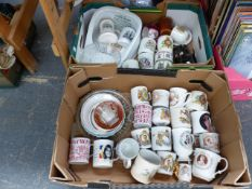 A SMALL COLLECTION OF ANTIQUE COMMEMORATIVE CUPS AND OTHER SIMILAR WARES.