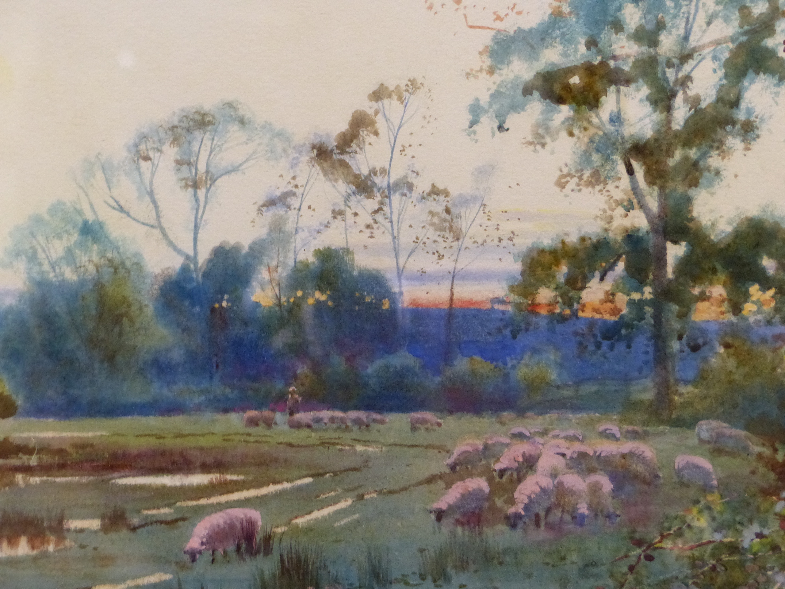 WILLIAM MATHISON (1853 - 1926) SHEEP IN THE WATER MEADOW. SIGNED WATERCOLOUR 48 x 72cm - Image 2 of 21