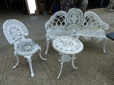 A PAINTED CAST ALLOY GARDEN BENCH, TOGETHER WITH A SIMILAR CHAIR AND SIDE TABLE.
