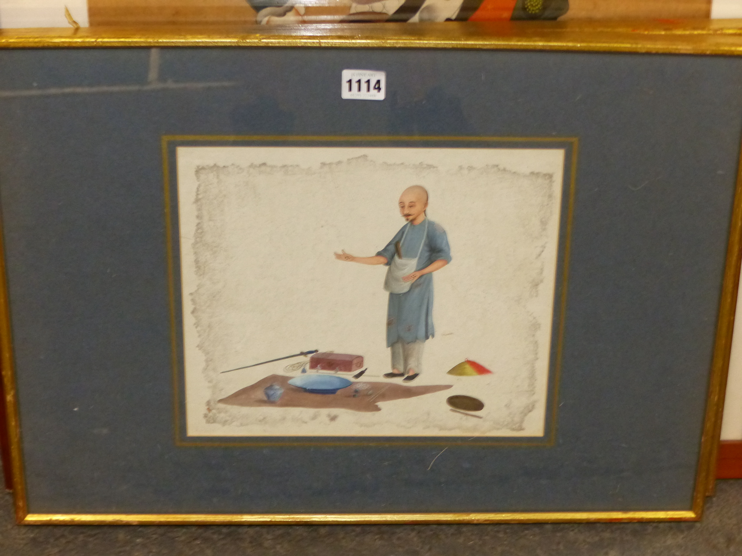 TWO GILT FRAMED CHINESE WATERCOLOURS, ONE OF A MAN SEATED AT A TABLE WRITING, THE OTHER OF A MAN - Image 2 of 5