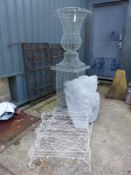 A LARGE WIREWORK URN ON STAND, TOGETHER WITH A PAIR OF THREE TIER WIREWORK POT SHELVES, ETC.