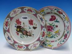 TWO CHINESE FAMILLE ROSE PLATES VARIOUSLY PAINTED WITH FLOWERS. Dia. 23cms.