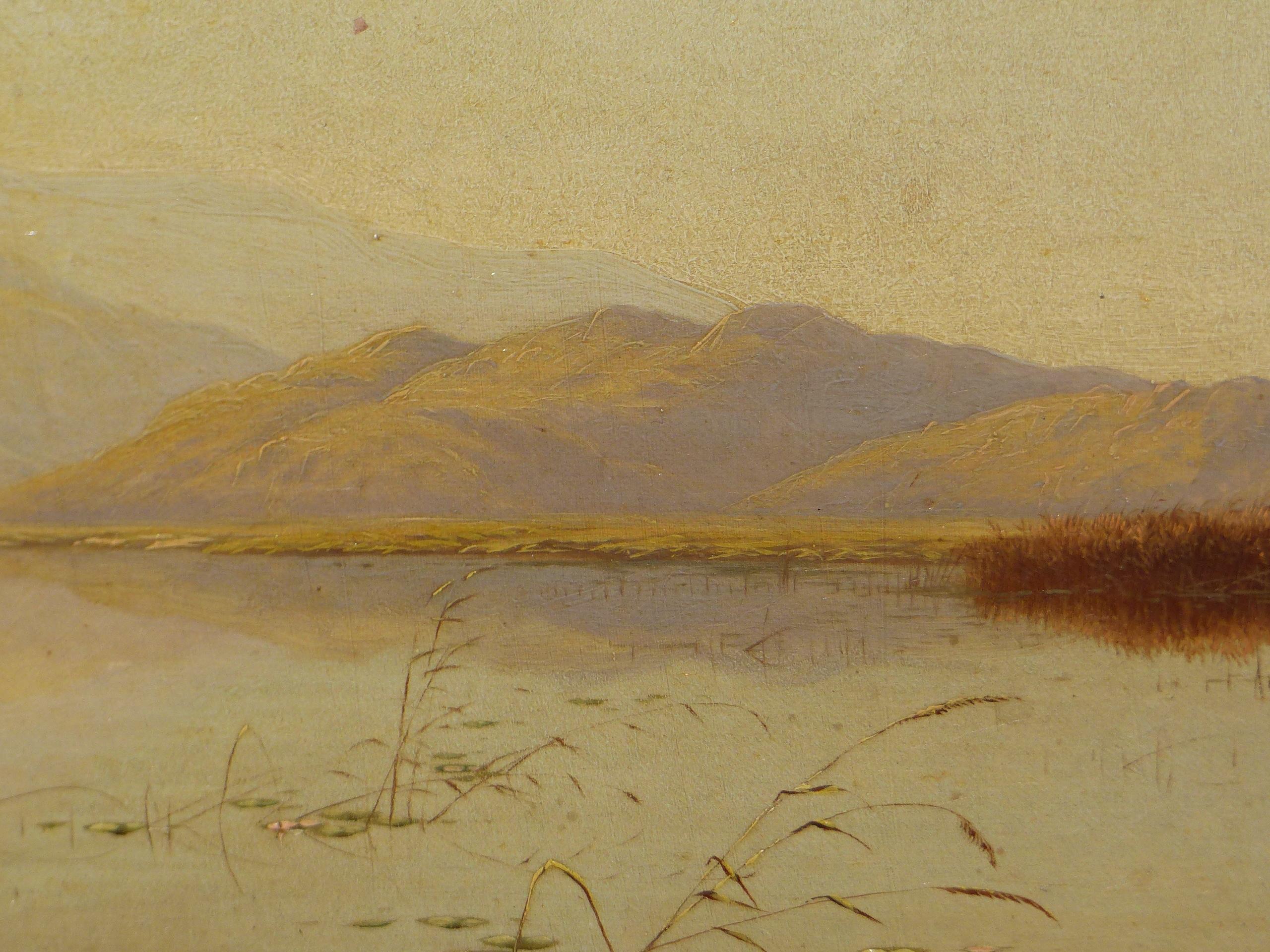 EDWIN BODDINGTON (1836 - 1905) A WELSH LANDSCAPE, OIL ON CANVAS, LABEL VERSO 30 x 56 cm - Image 5 of 9