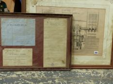 A VICTORIAN PRINT OF A CUT AWAY SECTION OF A STEAMSHIP ENGINE 35 x 50cm AND THREE PIECES OF EPHEMERA