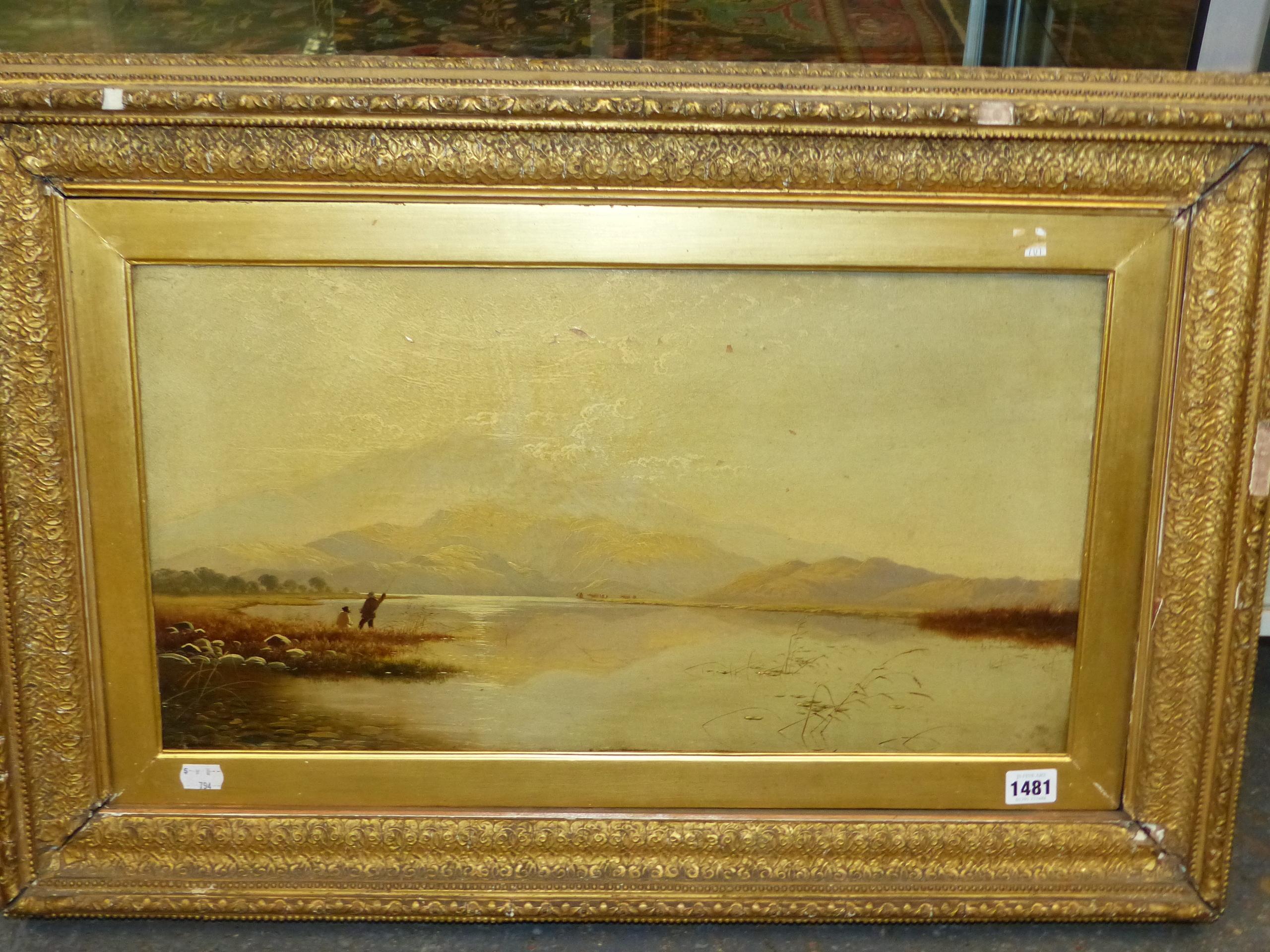 EDWIN BODDINGTON (1836 - 1905) A WELSH LANDSCAPE, OIL ON CANVAS, LABEL VERSO 30 x 56 cm - Image 3 of 9