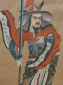 A CHINESE WATERCOLOUR DEPICTING A WARRIOR STANDING HOLDING A LONG BLADED SPEAR. 66 x 45cms.